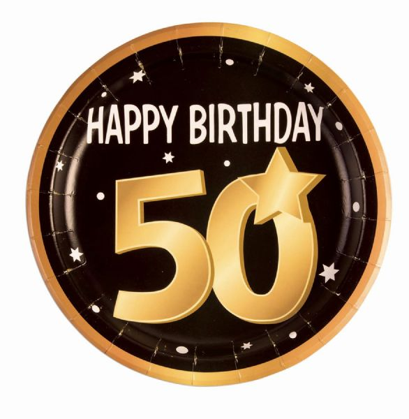 50th Birthday Paper Plates 9 (8 in pkt) Party Tableware